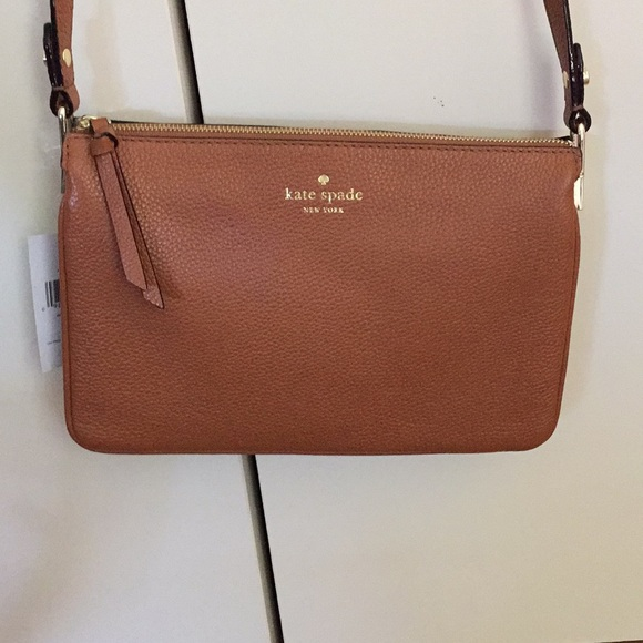 sleek new arrival hot-seeling original kate spade brown leather crossbody bag NWT